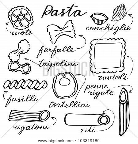 Pasta set. Hand-drawn cartoon kinds of pasta. Doodle drawing.