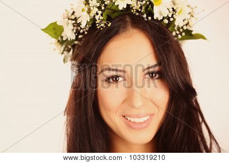 Gorgeous Young Women With Beautiful Chaplet Flowers On Isolated Background