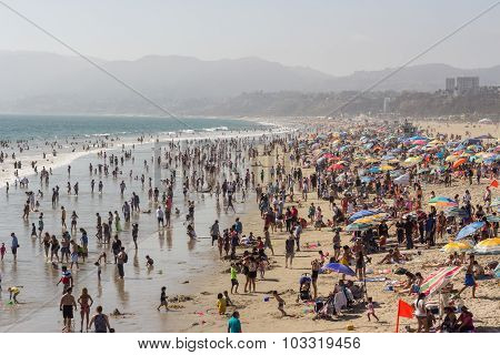 SANTA MONICA, CALIFORNIA - AUGUST 2, 2015: Santa Monica beach. The beach is located along Pacific Co