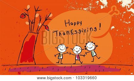 Happy thanksgiving, with kids vector illustration. Childlike drawing, scribble.