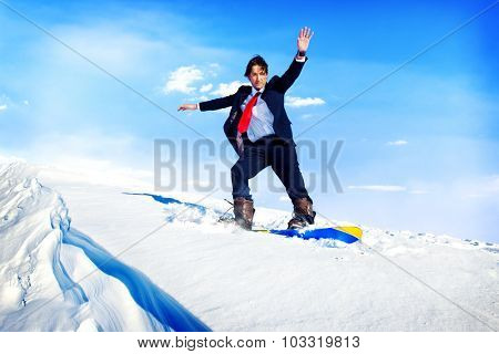 Businessman Snowboarding Mountain Challenge Hill Concept