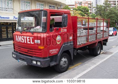 VALENCIA, SPAIN - SEPTEMBER 28, 2015: An Amstel Beer delivery truck parked in the street. Amstel Brewery was a Dutch brewery founded in 1870 in Amsterdam and was bought by Heineken in 1968.