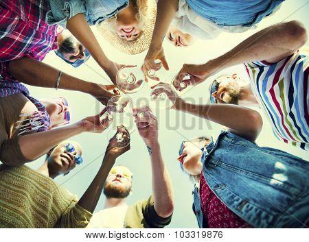 Beach Cheers Celebration Friendship Summer Fun Concept