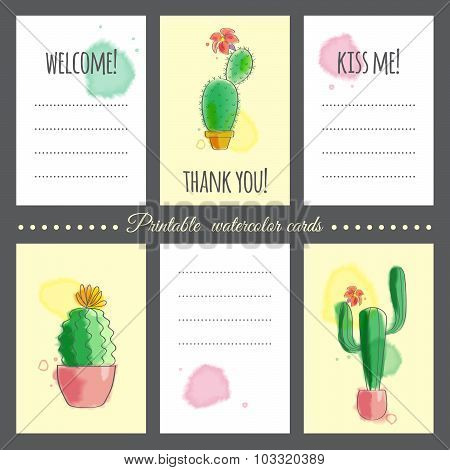 Cacti With Watercolor Effect