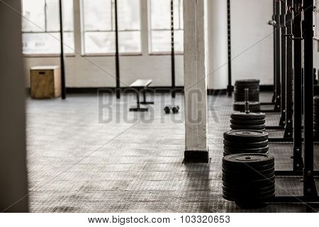 Barbell disc plates arranged in the gym