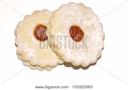 linzer cookies with peach jam isolated on white background