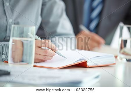 Female hand with pen writing working plan in notebook