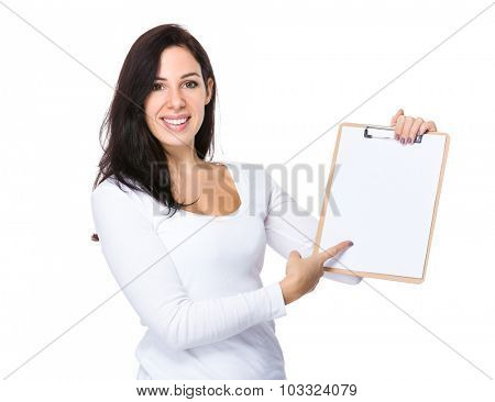 Caucasian woman finger point to clipboard