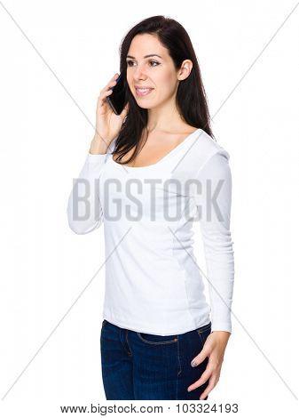 Caucasian woman talk to cellphone