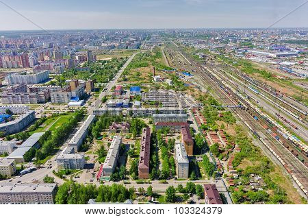 Voynovka railway node. Industrial district. Tyumen