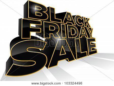3D Black Friday Sale Sign.