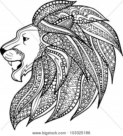 Hand drawn ornamental lion head illustration decorated with abstract zentangle doodles