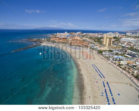 Aerial Shot Of Beautiful Beach And Ocean In Adeje Playa De Las Americas, Tenerife Islands, Spain