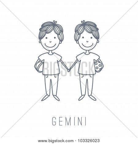 Illustration Of The Twins (gemini)