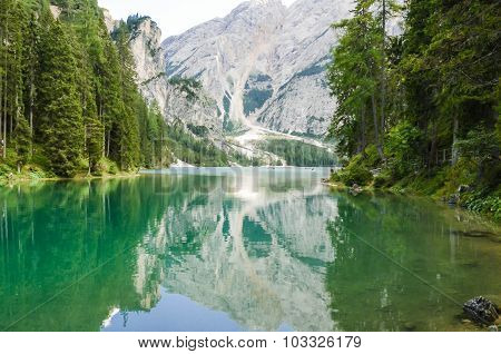 view of the Braies Lake Dolomites - Italy