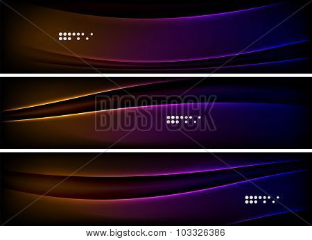 Set of banner, header backgrounds with place for your message. Glowing color neon light lines in dark space. Advertising layouts.