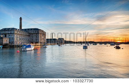 Sunset At The Royal William Yard In Plymouth