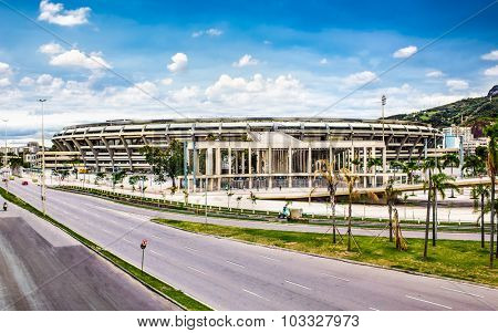 RIO DE JANEIRO - APRIL 27, 2015: Panoramic view of Maracana football soccer stadium on April 27,2015, after two years of extensive renovation and reconstruction. Rio de Janeiro, Brazil.