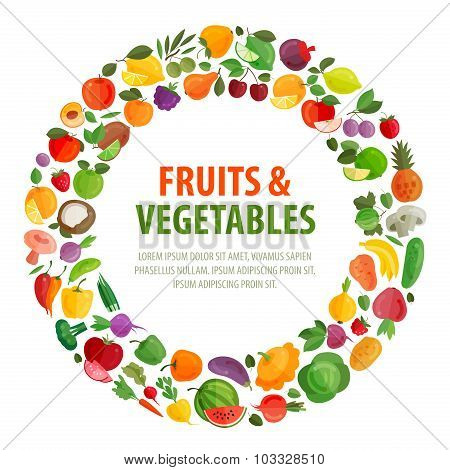 food vector logo design template. fruits and vegetables icons