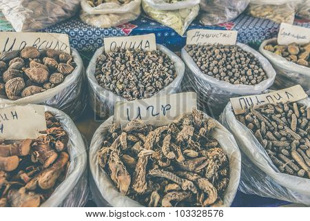 Vivid Oriental Central Asian Market With Bags Full Of Various Spices In Osh Bazar In Bishkek, Kyrgyz