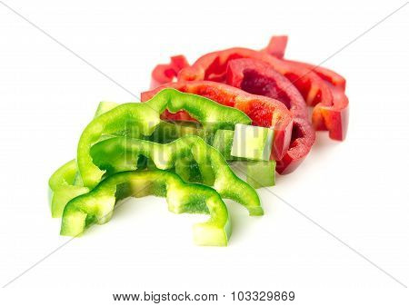 Sliced Bell Peppers, Vibrant Isolated On White