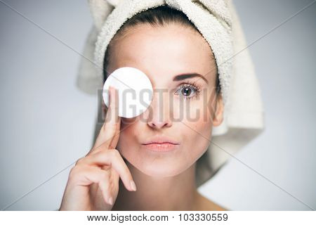 Healthy Fresh Girl With Cotton Swab
