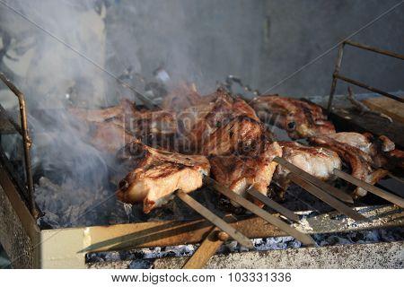 Shish kebab on the grill.