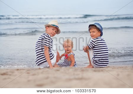 Portrait Of Happy Beautiful Family Near  Sea