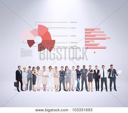 Multiethnic business people standing side by side against grey background