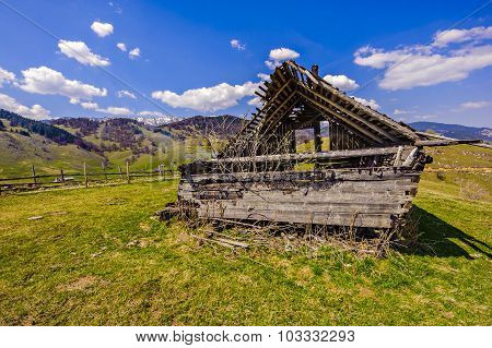 Ruin A Wooden House In The Mountains