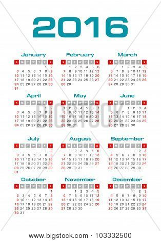 Simple 2016 year vector calendar