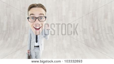 Geeky businessman against curved wooden room