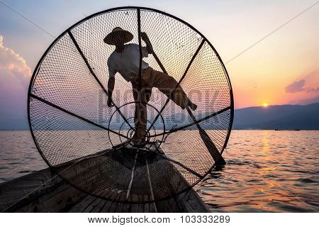 Fisherman In Inle Lake At Sunset, Shan State, Myanmar