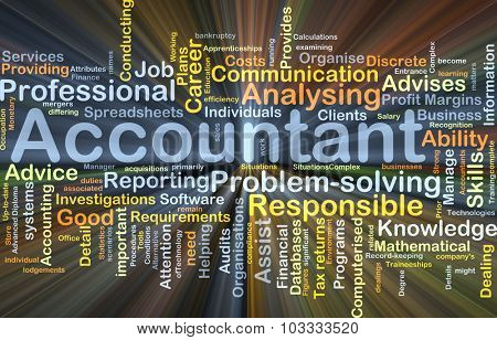 Background concept wordcloud illustration of accountant glowing light