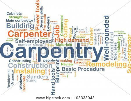 Background concept wordcloud illustration of carpentry