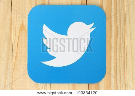 Twitter logotype bird printed on paper
