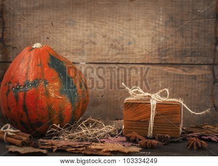 Decorative Pumpkin And Gift Box