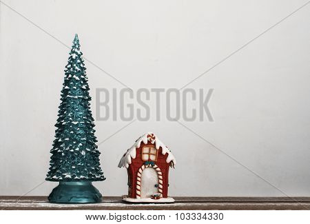 Decorative Christmas Tree And Gingerbread House