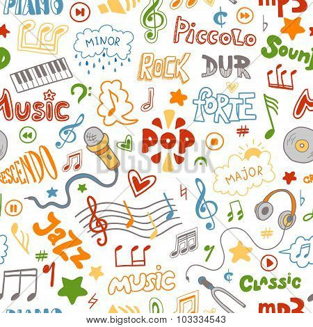 Vector Seamless Pattern Of Hand Drawn Doodles On A Music Theme. Color Music Symbols And Word On A Wh