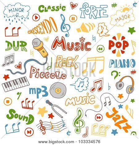 Vector Set Of Hand Drawn Doodles On Music Theme. Color Music Symbols And Word