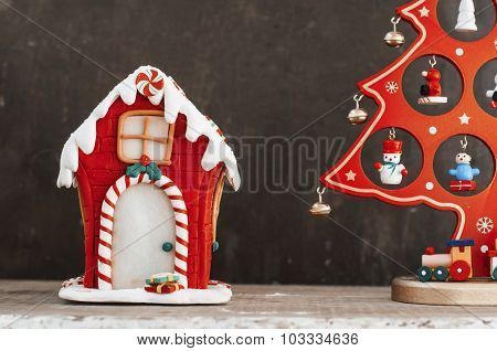 Gingerbread House And Christmas Tree Decorations