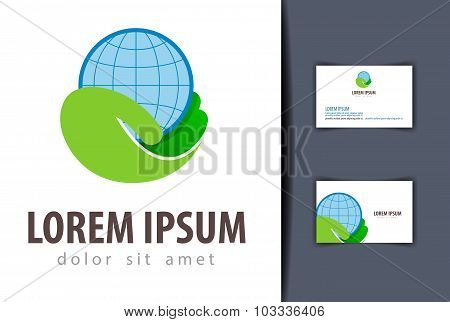 ecology vector logo design template. earth or charity icon