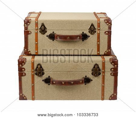 Stacked Deco Wood Burlap Suitcases