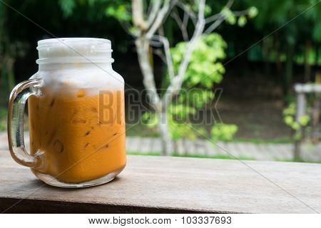 Ice Milk Tea In Garden