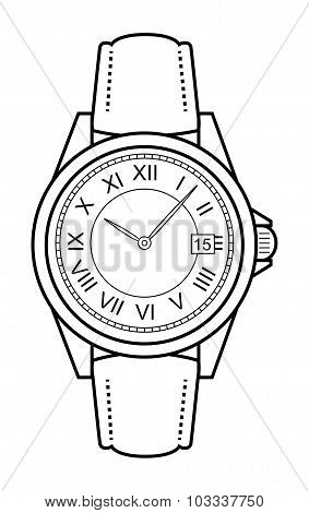 Business style hand watches. Contour