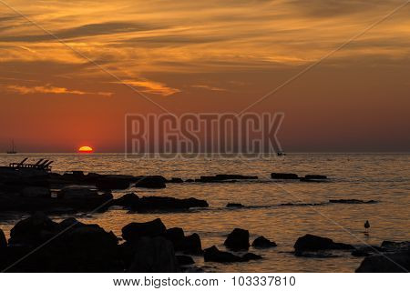 Gorgeous Sunset On The Rocky Coast Of Adriatic