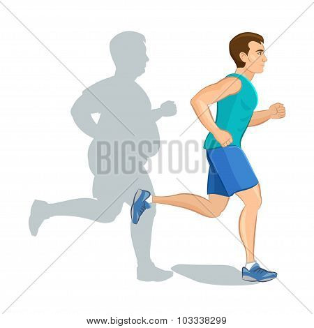 Illustration Of A Cartoon Man Jogging, Weight Loss Concept, Cardio Training