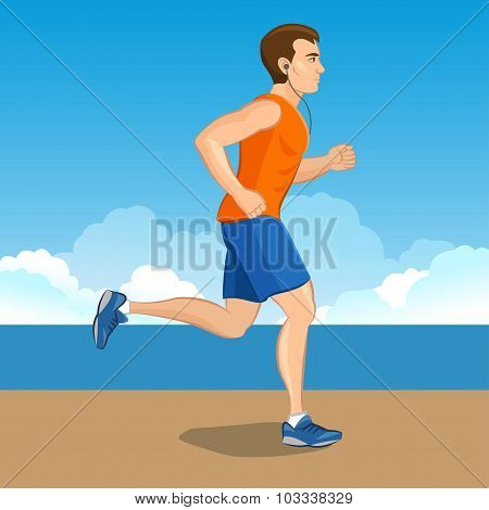 Illustration Of A Cartoon Man Jogging, Weight Loss Concept, Cardio Training, Health Conscious Concep