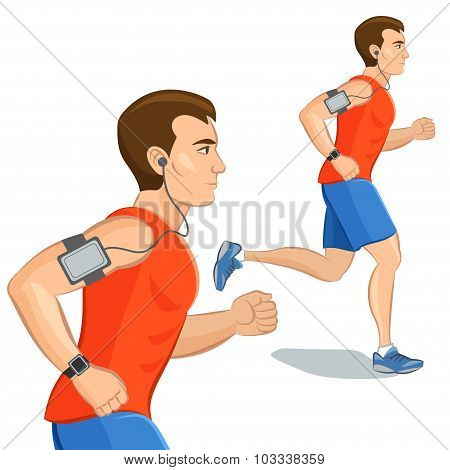 Jogging Sporty Man, Loss Weight Cardio Training With Smart Device. Vector Illustration.