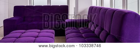 Purple Quilted Sofa Set